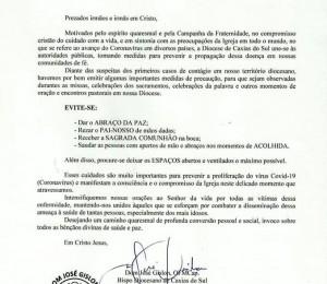 NOTA SOBRE CUIDADOS PREVENTIVOS ACERCA DO CORONAVÍRUS